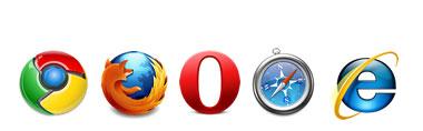 Logos de Chrome Firefox Opera Safari e iInternet Explorer