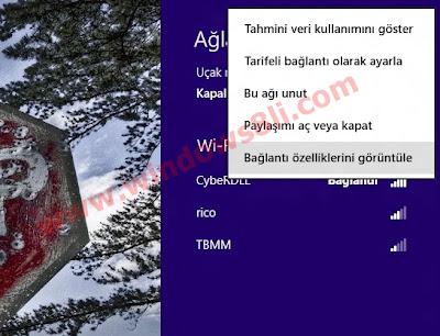 Windows 8 Kablosuz bağlantı