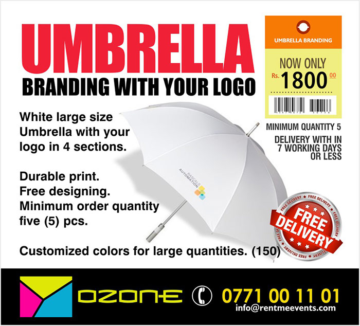 White large size Umbrella with your logo in 4 sections.  LKR 1800/=. Durable print. Free designing. Minimum order quantity five (5) pcs.  Customized colors for large quantities. (150 pcs)  Ozone Branding - From Paris to Colombo