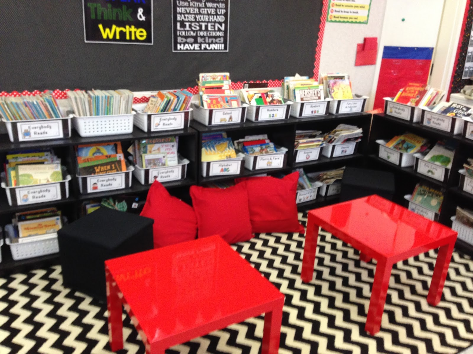 Red Classroom Decor ~ Time kindergarten first day hooray and a classroom reveal