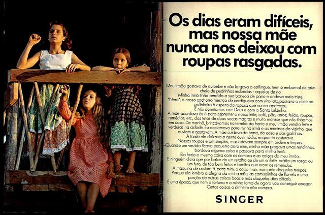 propaganda máquina de costura Singer - 1973. Anúncio máquina de costura Singer - 1973,  1973; os anos 70; propaganda na década de 70; Brazil in the 70s, história anos 70; Oswaldo Hernandez;