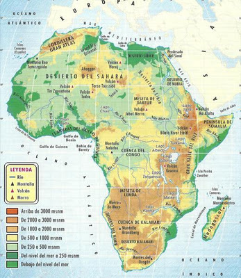 Imagen del Mapa Físico de Africa