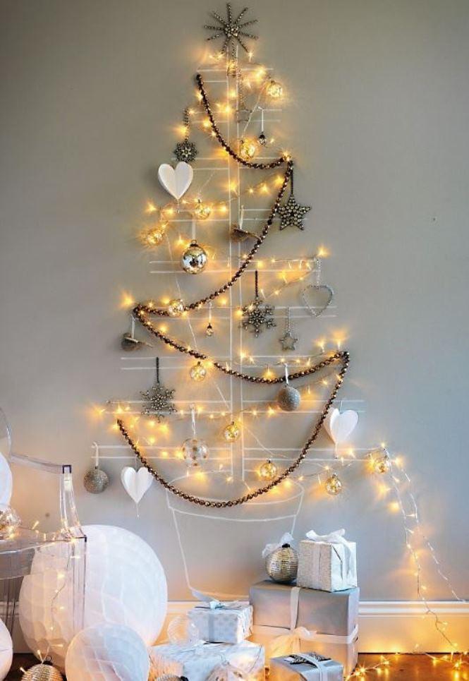 Árvores de Natal Baratas e Criativas + Árvores de Natal na parede