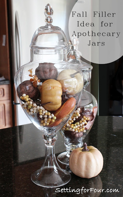 See my Fabulous Fall Filler Ideas for apothecary jars!