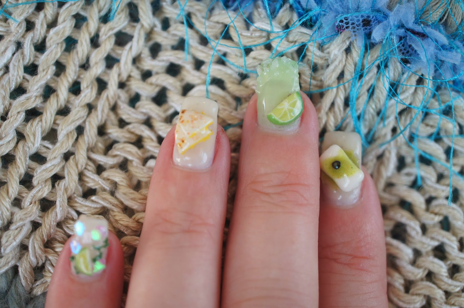 Sweet savory trinkets tropical polymer clay nail art in the next few days i will start putting up tutorials to make the tiny foods you see on my nails prinsesfo Choice Image