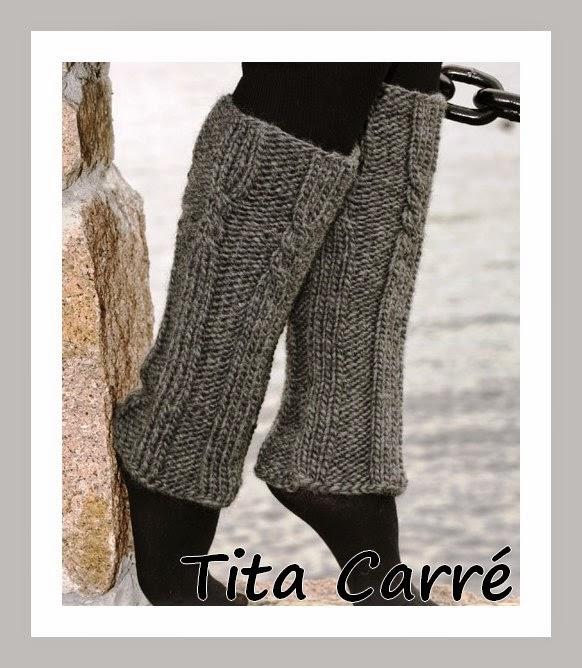 Polainas em tricot com motivos de corda