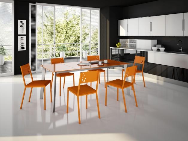 silla cocina naranja