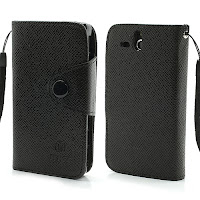 Leather Case Wallet Credit Card Slot Sony Xperia U ST25i - Black