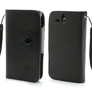 Leather Case Wallet Credit Card Slot Sony Xperia U ST25i - Black