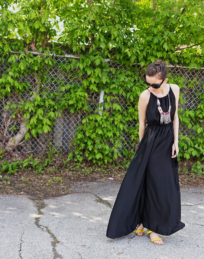 Long-Black-Maxi-Dress-tribal-necklace-coral-cardigan