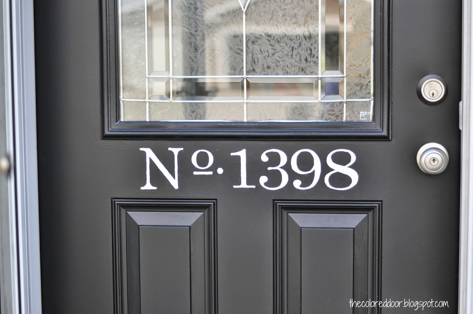 Painted address on door \ the colored door