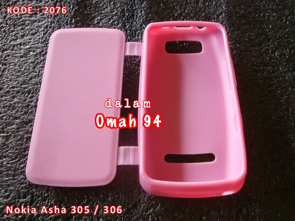 Jual Silikon Flip Case Nokia Asha N 305 / N 306 Merah Hati (Pink)