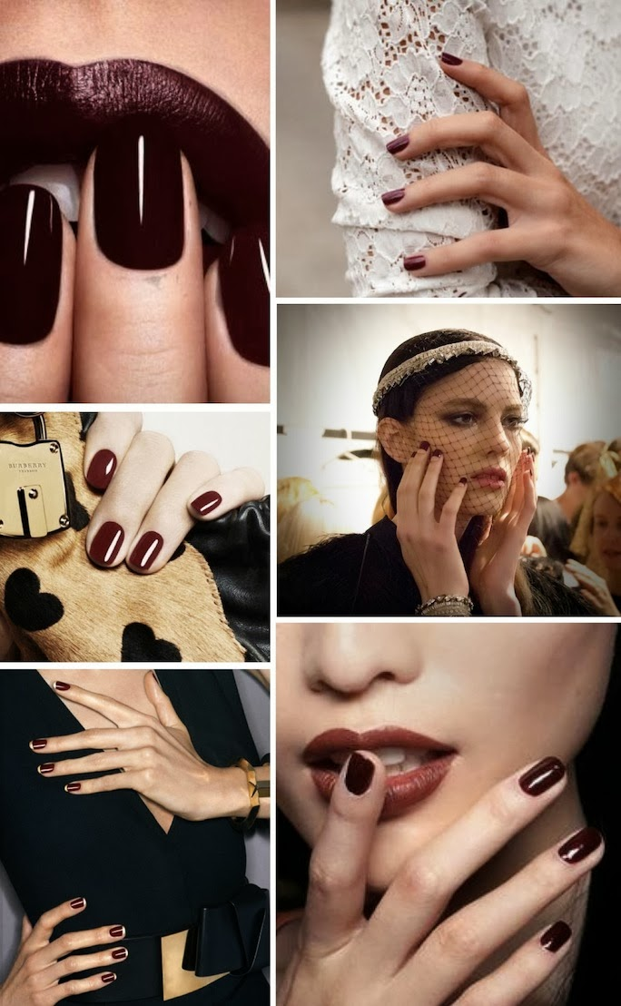 fall beauty trend, oxblood nails
