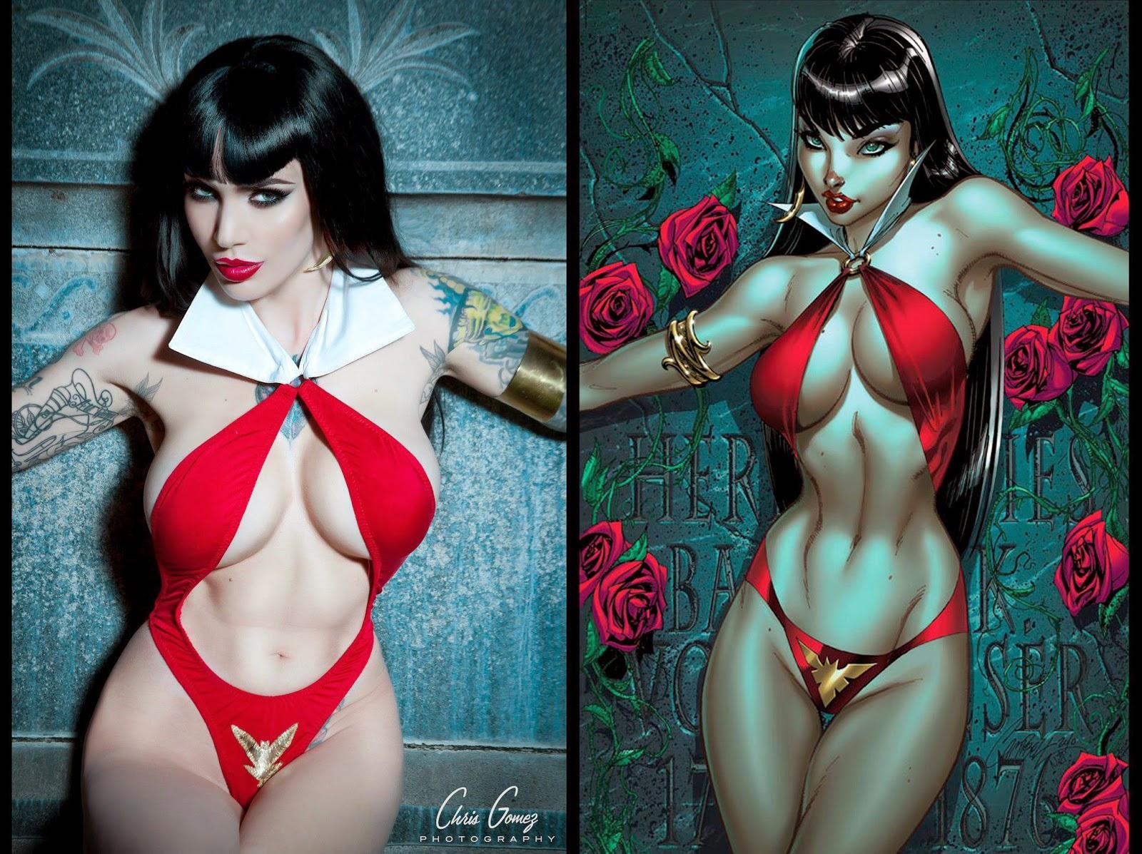 cosplay de vampirella avec image du comics à côté