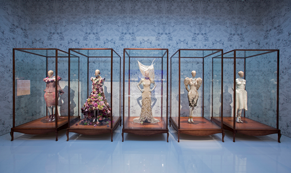 "Installation view of ""Romantic Naturalism"" gallery / Alexander McQueen savage beauty exhibition Victoria & Albert Museum / V&A London / via fashioned by love British fashion blog"