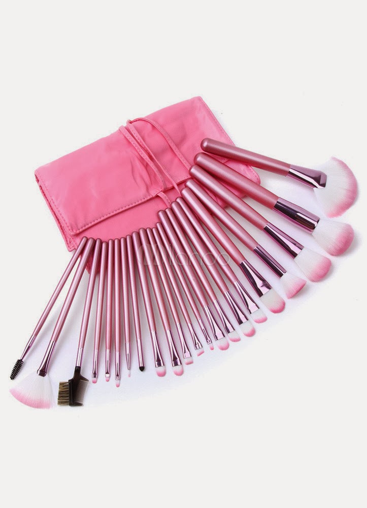 Chic Pink Polyester Microfiber 22 Pieces Makeup Brush Sets For Women