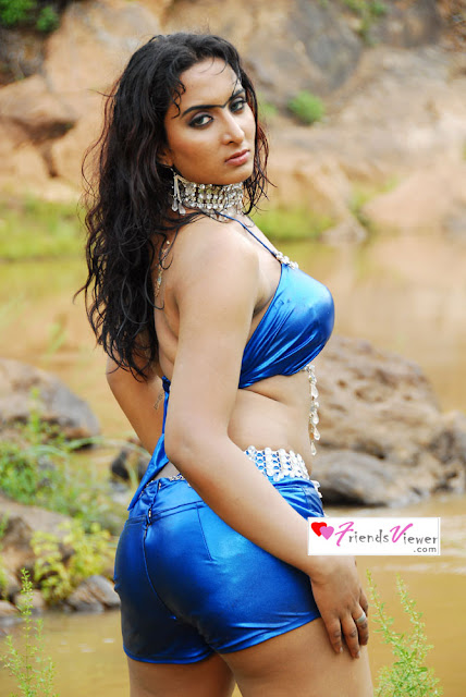 Indian Sexy masala actress in Tight short blue shiny pants and bra
