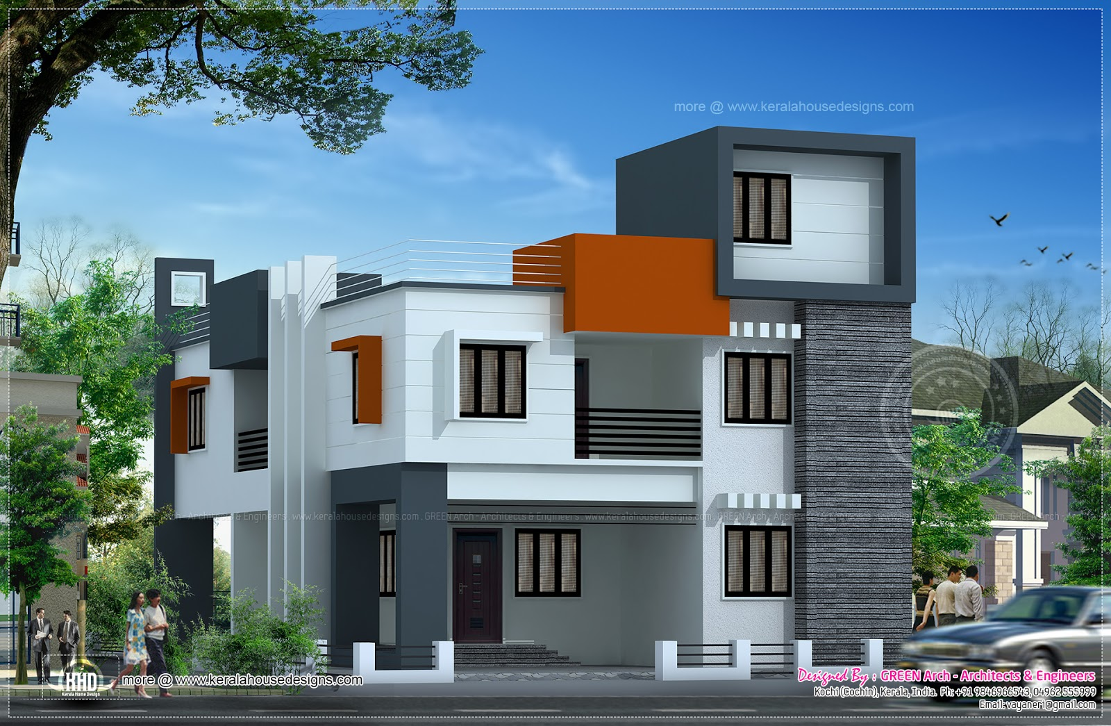 Modern Flat Roof House In 186 Square Meter Kerala Home Design And