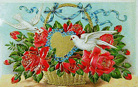 antique embossed valentine postcard post card with heart, doves and basket of flowers
