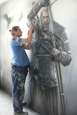 Mroczny mural, malowanie wiedźmina na ścianie  w pokoju młodzieżowym,