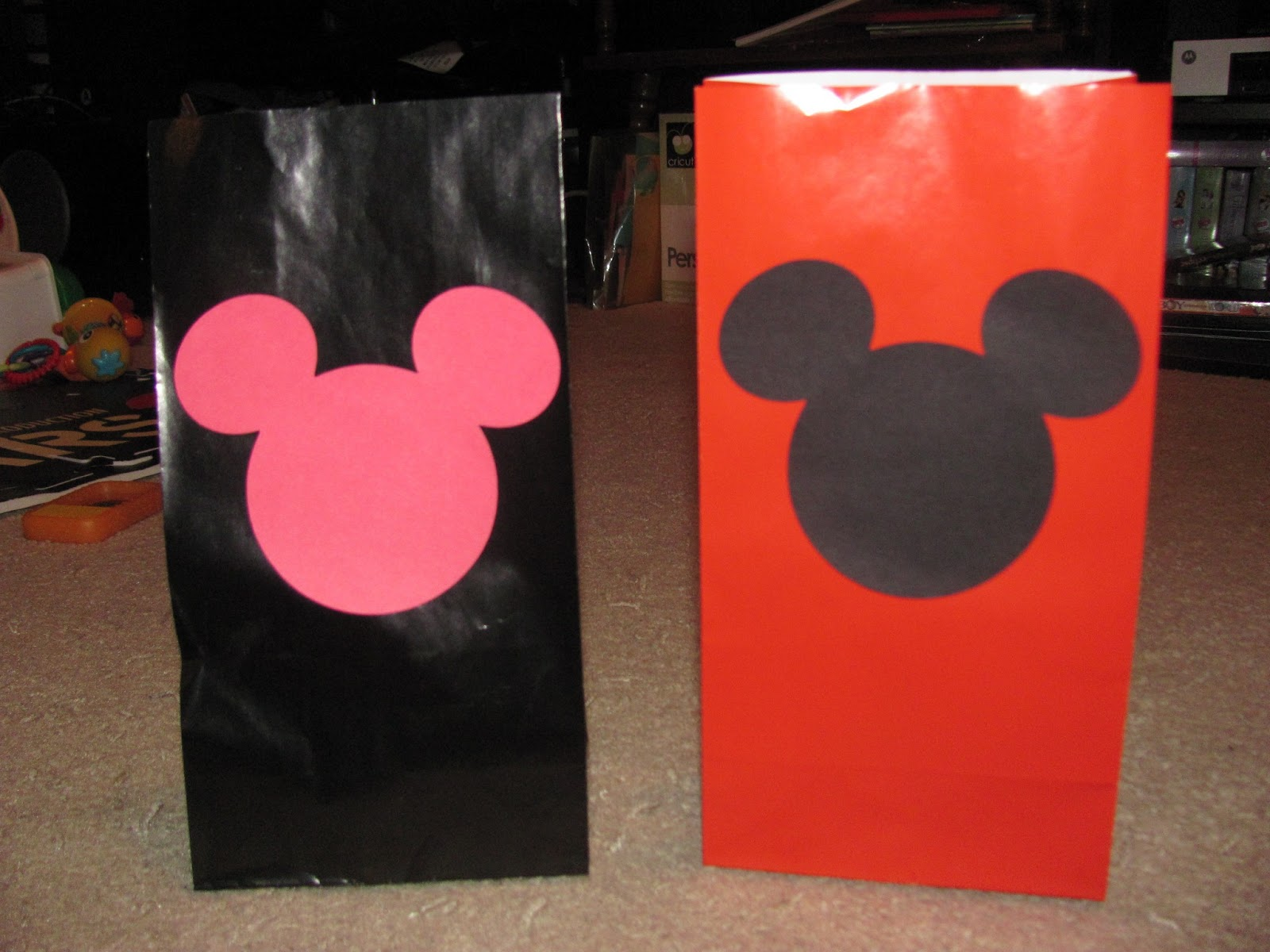 Mickey Mouse Birthday Party Goodie Bags I Bought Small Plain Red And Black Gift Then Used My Cricut Machine To Cut Out Pink Mickeys