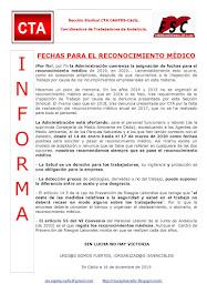 FECHAS PARA EL RECONOCIMIENTO MÉDICO