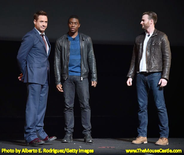 Robert Downey, Jr., Chadwick Boseman and Chris Evans