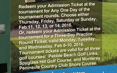 2016 AT&T Pebble Beach Pro-Am One Daily Admission Ticket fine print