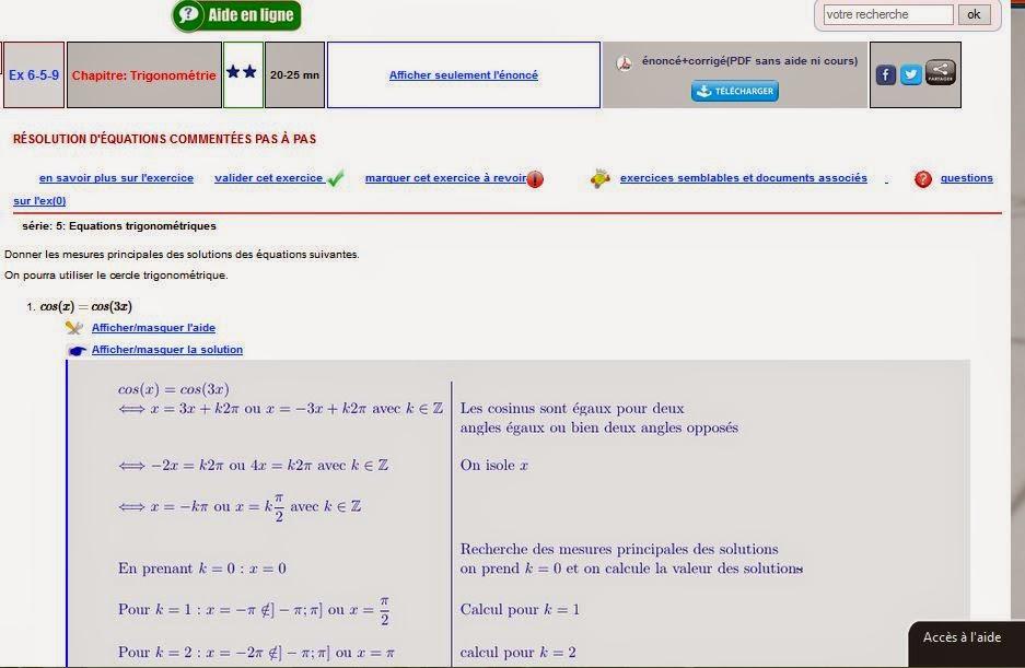équations trigonométriques