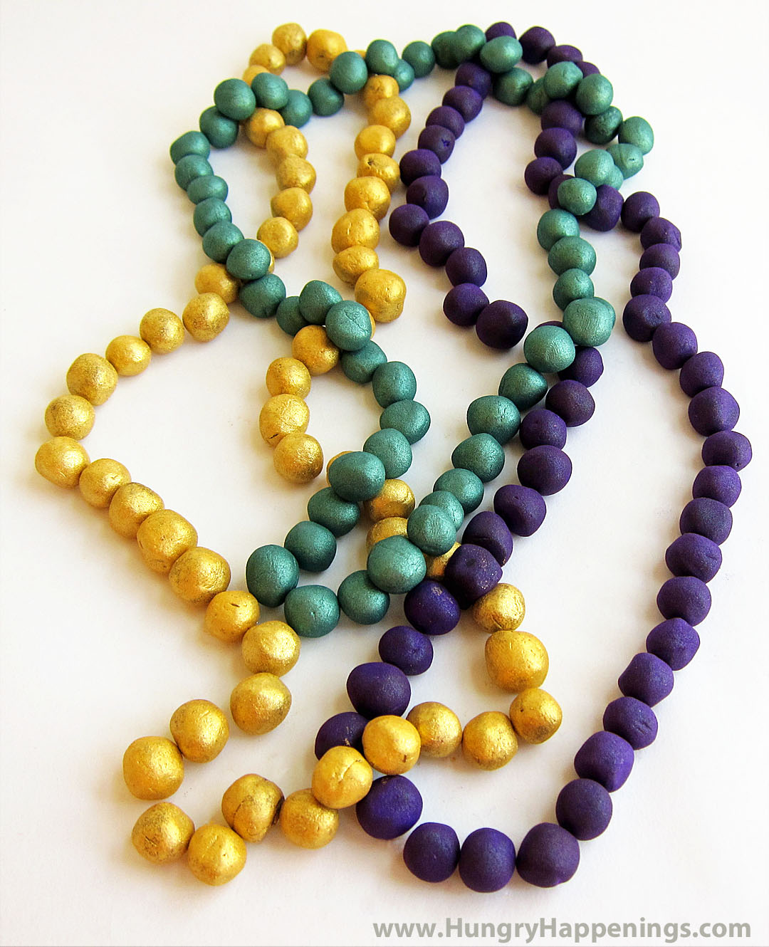 Mardi gras chocolate truffle beads