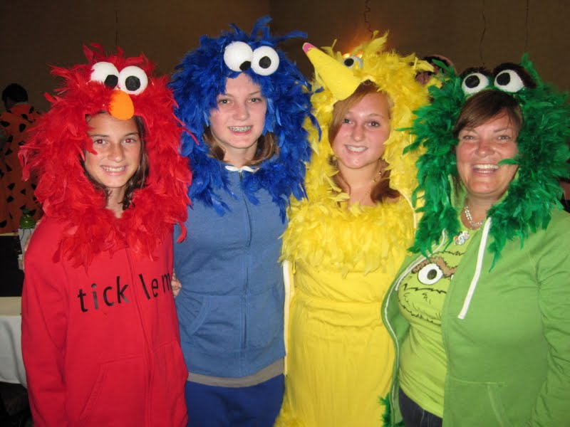 last year i got an early start on halloween costumes i got obsessed with making sesame street costumes for a family reunion we bought sweatshirts from