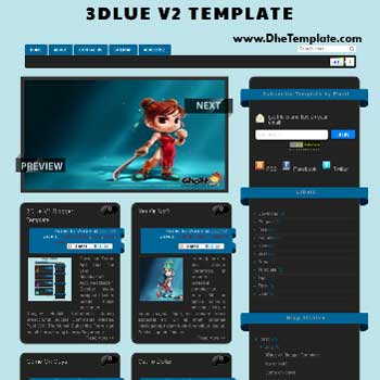 3Dlue V2 blogger template. template blogger 3d style