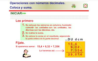 Suma con decimales, Matemáticas, decimales,numeración