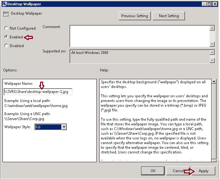 Configure Desktop Wallpaper Background through Group Policy