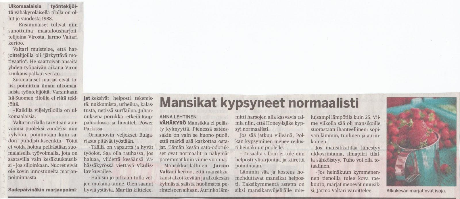 sanomalehti pohjalainen Somero