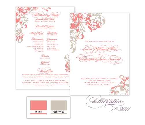 flourishes floral swirls swooshes blush pink gray printable diy wedding ceremony program  design