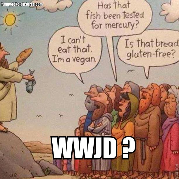 Jesus Bread Fish Vegan Gluten Free Cartoon Funny Joke