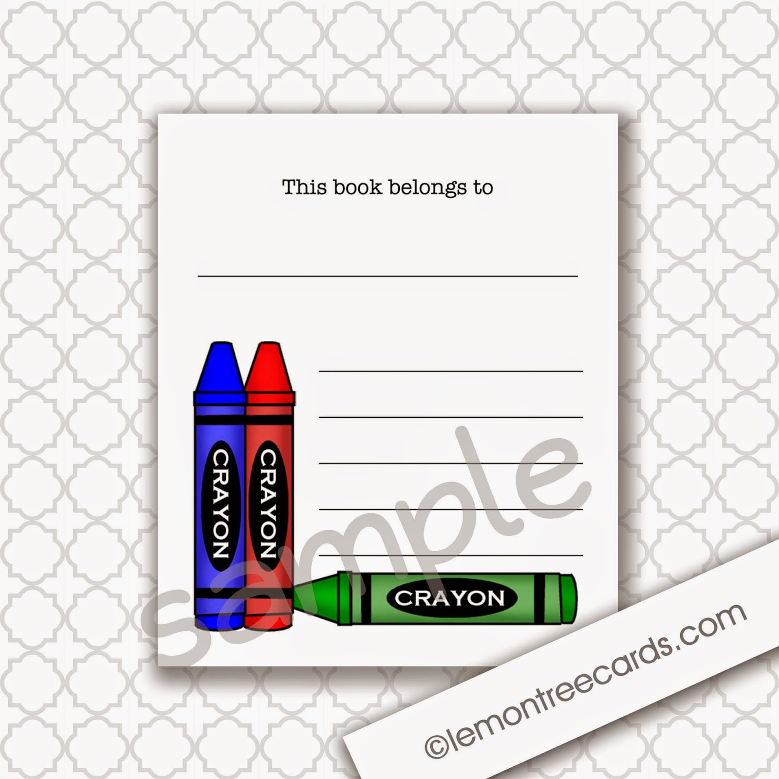 Crayon Bookplate Labels