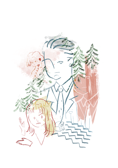 twin peaks, illustration, ilustración, agente cooper, laura palmer, serie