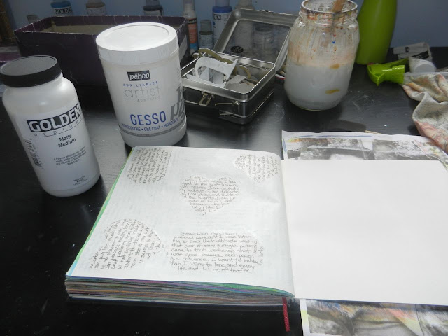 gesso in an art journal