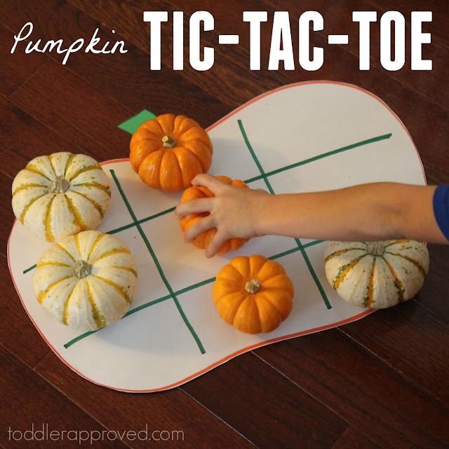 Toddler approved pumpkin tic tac toe for kids for Halloween party games for preschoolers
