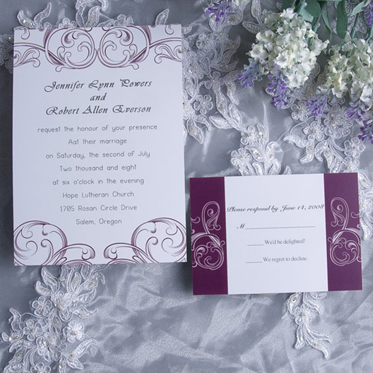 Purple Swirl Wedding Invitation Card