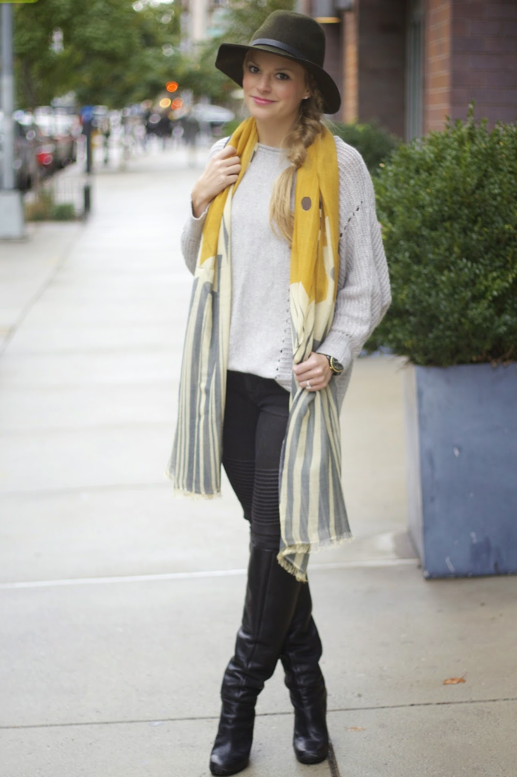 braided hairstyles, oversized sweater, cats & ghosts scarf
