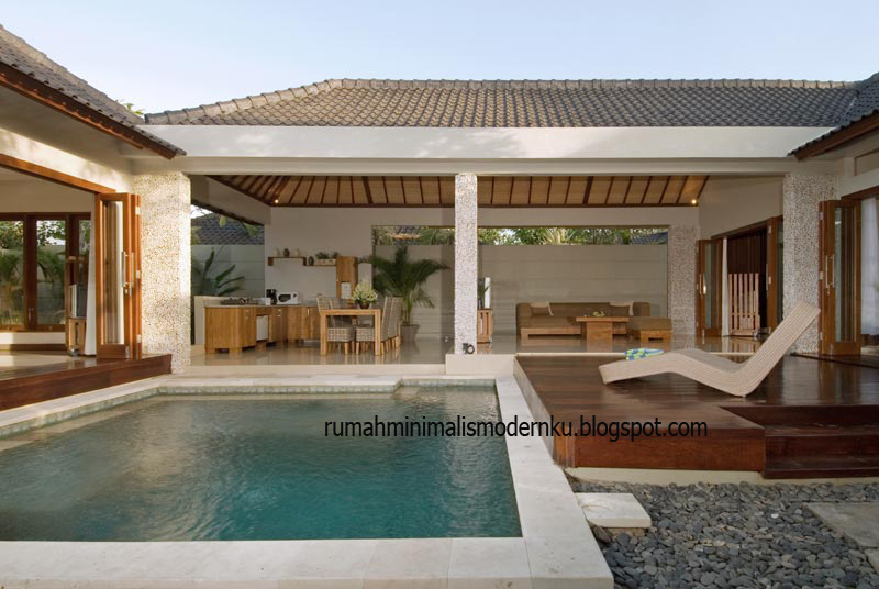Denah Rumah Minimalis Modern 2 Lantai Kolam Renang