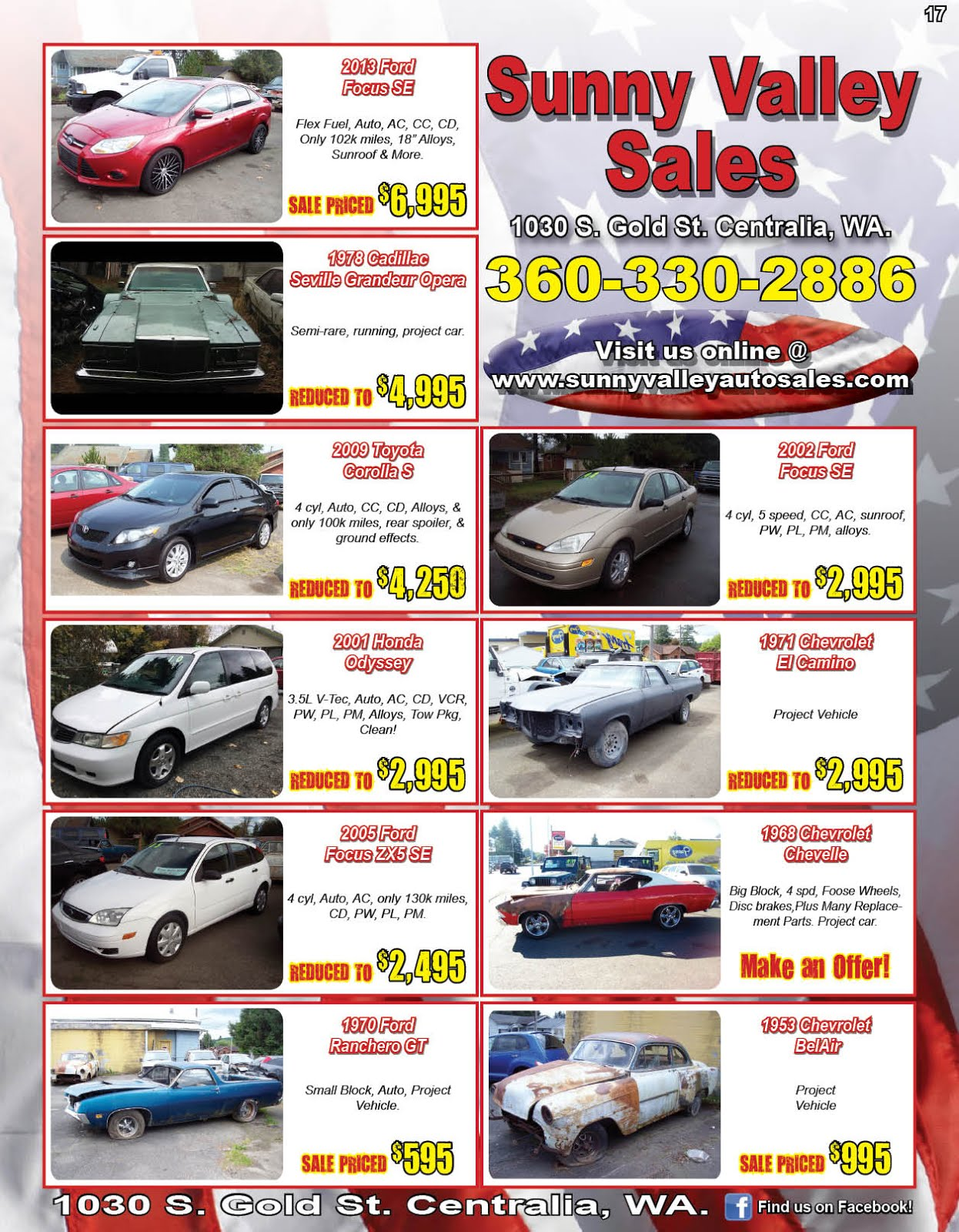 Sunny Valley Sales Classics Cars Trucks Projects & More!!
