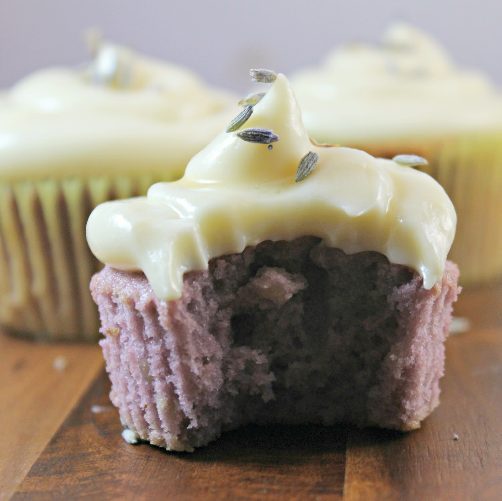 Almond Lavender Cupcakes with Honey Cream Cheese Frosting Recipe | I ...