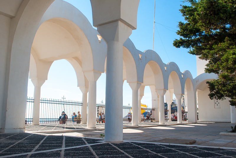 beautiful white church arches in Fira, Santorini, Greece