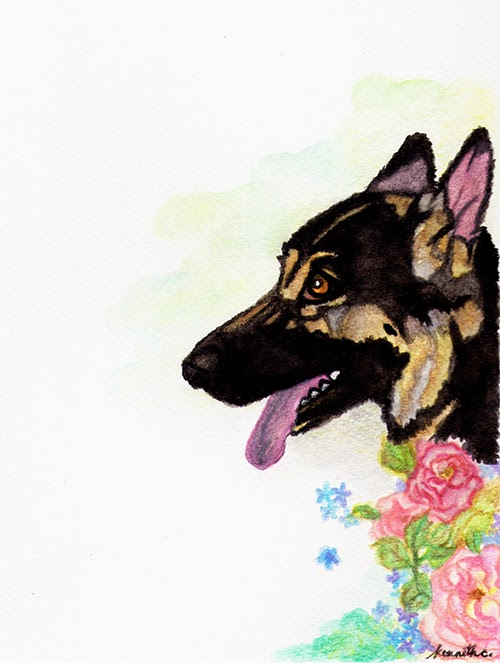 german shepherd dog in watercolor pencil by kenneth cajote free use