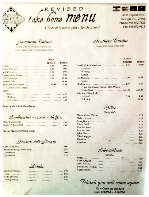 restaurant lees kitchen in raleigh nc - Lees Kitchen Menu