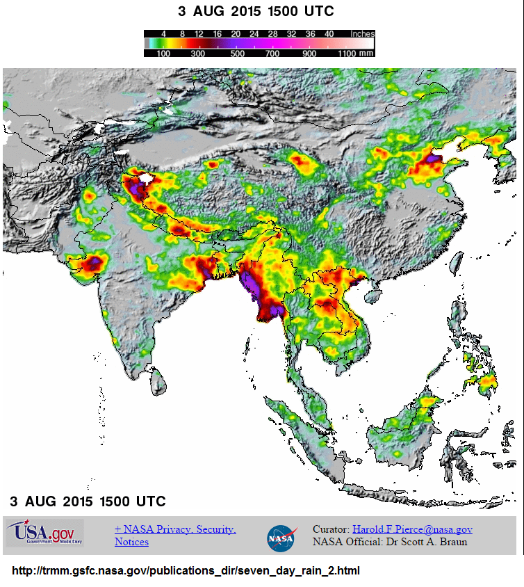 Geography: Flood in Southern Asia